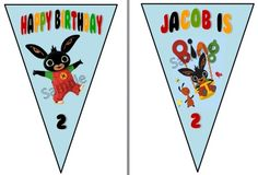 the bunting is 12 flags long and will alternate between the two flags pictured 3rd Birthday Parties, 2nd Birthday, Birthday Ideas, Bing Bunny, Bunting Banner, Households, Party Planning, First Birthdays, Party Ideas