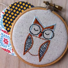 embroidery kit // The Hello Hooties Eli Hootie por dioramatist