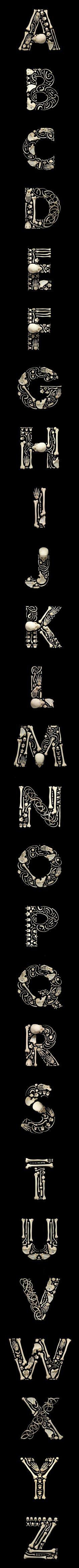 Bones type, by designer & photographer Francois Robert