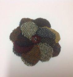 Tweed Flower Brooch by PoppyMallow on Etsy