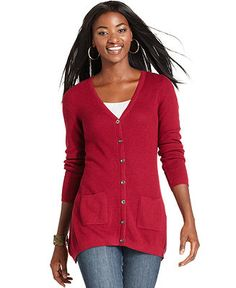 Style&co. Sweater, Long-Sleeve Button-Down Cardigan - Sweaters - Women - Macy's