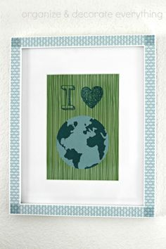 Earth Day print in frame with washi tape