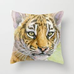 Tiger Cub portrait 815 Throw Pillow by S-Schukina - $20.00