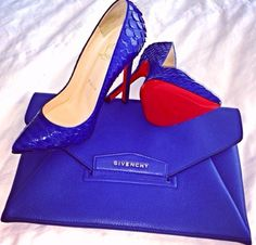 Blue Givenchy Clutch and Louboutin heels