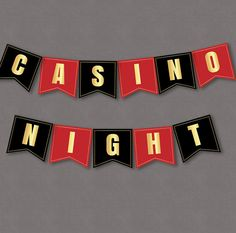Casino Red, Black and Gold Party decor, printable party bunting, custom diy banner, alphabet and numbers for any phrase or wording.  Great for casino nights, themed receptions, birthday parties and events!  ----------------------------------------------------------------------------------------------  - - - LISTING INCLUDES - - - 2 x PDF Banner  Red: A-Z, 0-9, heart and diamond suits and punctuation .!?& (All approx slightly larger than 6x6)  Black: A-Z, 0-9, spade and club suits and…