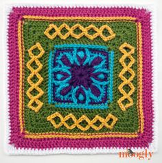 Block #17 in the Moogly 2015 Afghan Crochet-Along! free crochet pattern: Esme's Winter Cottage by Dedri Uys, of Look At What I Made!