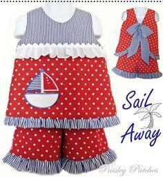 Sail Away ~ tie back top & ruffle shorts
