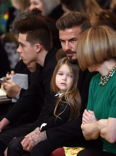David Beckham attends a fashion show by his wife and designer Victoria Beckham with their children during the Mercedes-Benz Fashion Week Fall 2015. via @stylelist | http://aol.it/1Mv2DSw