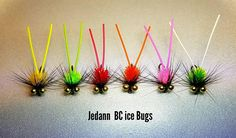 Great for ice fishing! These are some of the most productive flies that I tie. Slow sinking with plenty of flash! Rubber tail and flashy ice chenille bodies really attracts the larger gills. You will receive 12 flies tied on size 10 Mustad hooks. Two of each shown. I have been