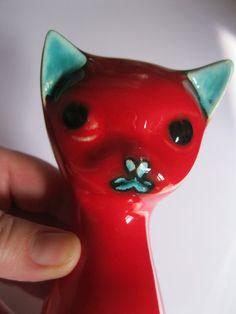 vintage cat figurine Poole pottery Delphis by 20thCenturyStuff