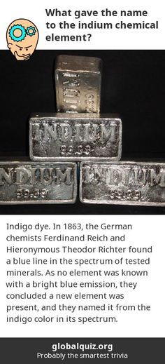 What gave the name to the indium chemical element? Indigo dye! In 1863, the German chemists Ferdinand Reich and Hieronymous Theodor Richter found a blue line in the spectrum of tested minerals. As no element was known with a bright blue emission, they concluded a new element was present, and they named it from the indigo color in its spectrum.