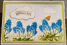 Hand crafted by Kandace Heimer, amateur maker of custom greeting cards. I used a layering technique by Kitchen Sink Stamps, Multi-step Bluebonnets, https://www.kitchensinkstamps.com/shop/product328.html