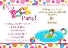 Pool Party Birthday Party Invitation (Girl)