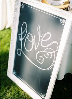 love chalkboard sign at wedding #diy #chalkboardsign #weddingchicks http://www.weddingchicks.com/2014/02/10/cant-rush-love-wedding/