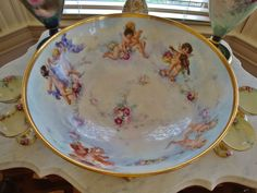 Spectacular 19th Century Limoges France Hand Painted Porcelain Antique Punch Bowl ~Roses~ Cherubs~
