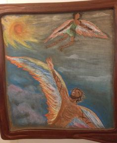 Waldorf ~ 5th grade ~ Ancient Greece ~ Icarus & Daedalus ~ chalkboard drawing