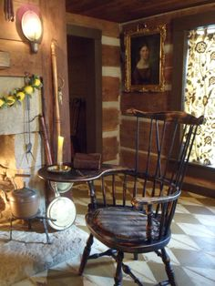 FARMHOUSE – INTERIOR – living room with windsor chair, primitive colonial.