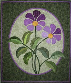 """Purple Passion by Mariya Waters - """"In the July issue of AQ, Mariya shares her unique, award-winning, turned-edge appliqué technique (along with pattern and instructions for the lovely wallhanging shown above). Applique Quilts, Wool Applique, Applique Patterns, Quilt Patterns, Map Quilt, Book Quilt, Quilt Blocks, Flower Quilts, Basket Quilt"""