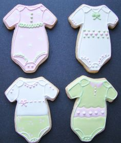 mix and match with duckie cookies for favors, same vendor-love these onesies!  Baby girl Onsie cookie favors by CookieCheers on Etsy