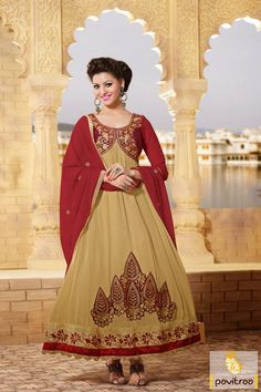 Pavitraa Graceful #Cream and #Maroon Long #Anarkali Salwar Suits