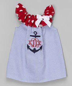 Look at this Caught Ya Lookin' Blue Stripe Anchor Monogram Dress - Infant & Toddler on #zulily today!