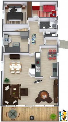 Click LIKE when you find the newspapers!   Furniture & Decor from Restoration Hardware, Pier 1 Imports & Ashley Furniture HomeStore: http://www.roomsketcher.com/features/homedesigner/  3D floor plan for 2 bedroom townhouse with balcony for tailgating designed in RoomSketcher Business Edition by nonparel  #floorplans #tailgating #furniture