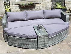 Grey Rattan Lounge Set Sofa with Table