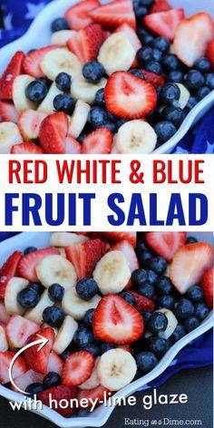 *Red white and blue fruit salad - of July Fruit salad recipe Blue Desserts, 4th Of July Desserts, Fourth Of July Food, July 4th, 4th Of July Food Sides, Healthy Fruit Desserts, Baking Desserts, Healthy Lunches, Vegan Dinner Recipes