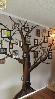 A beautiful family tree mural for your home. Add framed photographs of family members. Great craft idea for those doing genealogy and family history.