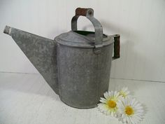 Antique Galvanized Metal Very Large Watering Can with 2 Wooden Handles - Vintage Heavy Duty Zinc Metal Gardening Can Holds 10 Quarts Water $69.00 by DivineOrders