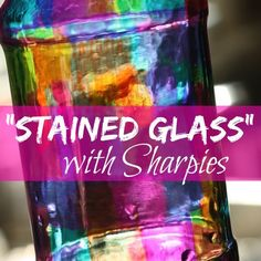 """Give a glass jar a gorgeous """"stained glass"""" effect with nothing more than a handful of Sharpie Markers and a Jar! Brought to you by TwistOP.com"""