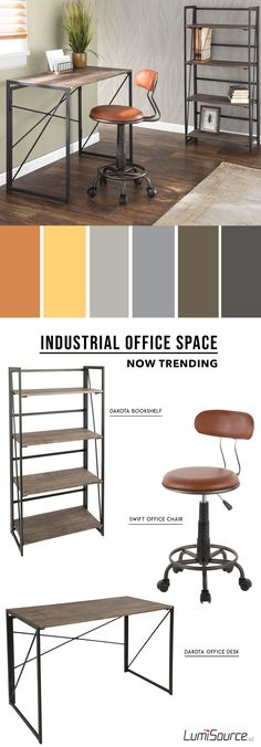 Incorporate an attractive seating option to your indoor space with the Swift Task Chair. This rustic office layout combines elements of metal and wood, giving it the perfect industrial look. The Dakota Desk is sturdy, yet simple and fits along your modern space. Rustic Chic Decor, Rustic Cafe, Rustic Desk, Rustic Office, Rustic Doors, Rustic Shelves, Rustic Kitchen, Rustic Farmhouse, Bedroom Rustic