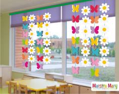 Bunny Garland for Easter Window Decor Kids Crafts, Spring Crafts For Kids, Christmas Crafts For Kids, Preschool Crafts, Easter Crafts, Diy For Kids, Diy And Crafts, Classroom Window Decorations, School Decorations