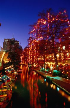 Christmas lights adorn the Riverwalk, San Antonio, Texas