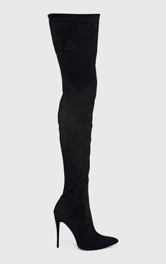 Emmi Black Faux Suede Extreme Thigh High Heeled Boots