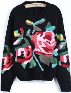 Black Long Sleeve Floral Crop Knit Sweater US$34.26