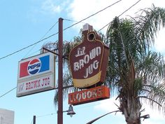 """""""Lil Brown Jug"""" neon sign, Clovis, CA. This sign is located on Clovis Ave. just south of downtown. Photo Credit: The NorCal Explorer"""