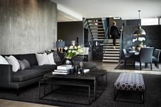 Style At Home, Living Room Decor, Living Spaces, Black And White Interior, Sombre, Cottage Interiors, Scandinavian Interior, Home Fashion, Cozy House