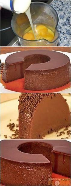 Pudim de Chocolate de Liquidificado / As soon as I translate this it will be mine. Sweet Recipes, Cake Recipes, Dessert Recipes, Portuguese Desserts, Cakes And More, Love Food, Cupcake Cakes, Sweet Treats, Chocolate Recipes