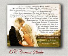 First Dance Custom Canvas Print.  Wedding Songs, Lyrics, Vows.  Wedding/Anniversary Gift. Gallery Wrapped. Wall Decor. on Etsy, $69.95