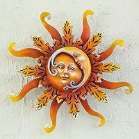 Iron wall art, 'Eclipse of Love' - Moon Hugging the Sun Iron Wall Art Sculpture from Mexico Sun Moon Stars, Sun And Stars, The Sun, Iron Wall Art, Love Moon, Moon Images, Sun Art, Mandala, Moon Child