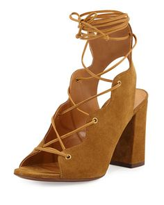 Babies Suede Lace-Up Sandal, Tan by Saint Laurent at Neiman Marcus.