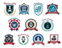 Buy University, Academy and College Emblems by VectorTradition on GraphicRiver. University, academy and college emblems or logos set for education industry design. Isolated on white background FLAT. Education Logo, Education College, Education Quotes, University Logo, School Logo, Vintage School, State College, Silhouette Vector, Coat Of Arms