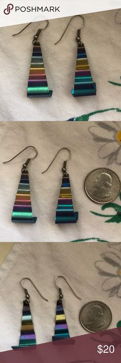 Vintage boho chic titanium colorful earrings Vintage boho chic titanium colorful earrings. These are from artisan in NYC from the 70s. Really cool and colorful. Vintage Jewelry Earrings