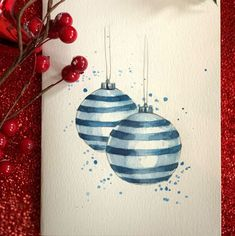 Christmas Cards Drawing, Painted Christmas Cards, Simple Christmas Cards, Watercolor Christmas Cards, Christmas Card Crafts, Xmas Cards, Christmas Art, Christmas Ideas, Create And Craft