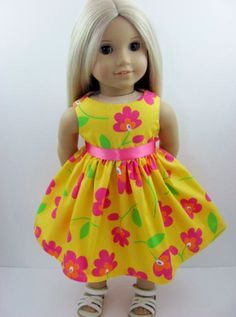 Golden Yellow Summer Floral Doll Dress for the American Girl Doll