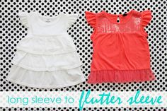 Tutorial on how to turn long sleeves into flutter sleeves. Love the style of these shirts. Would be easy to make.