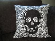 Decorative Pillow Cover Black Embroidered Skull