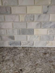 Tile Carrera Marble Beveled Subway Tile Backsplash And Quartz Cambria
