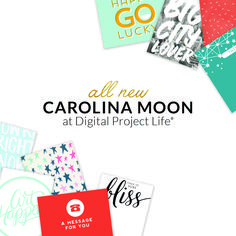 Capture that happy go lucky mood with the Project Life Carolina Moon Card Collection. Digital Project Life, Shades Of Blue, Moon, Messages, Happy, Projects, Cards, Collection, The Moon